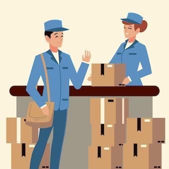 Почтальон почтовой службы и офис работника с коробками иллюстрации
