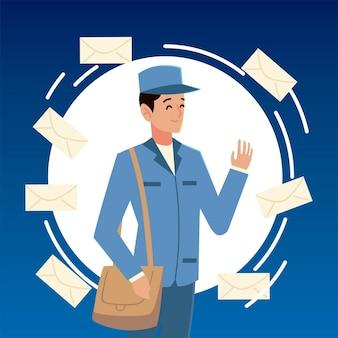 봉투 일러스트와 함께 제복을 입은 우편 서비스 우체부 문자