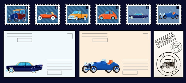 Postal stams collection isolated set of  illustrations.