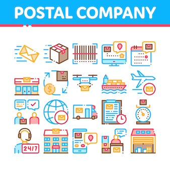 Postal transportation company icons set