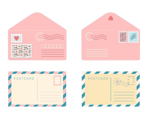 はがきと封筒のセットです。分離されたフラットベクトルレトロなポストカードとポストスタンプとシールとピンクの封筒。かわいいロマンチックな送料ヴィンテージコレクション。