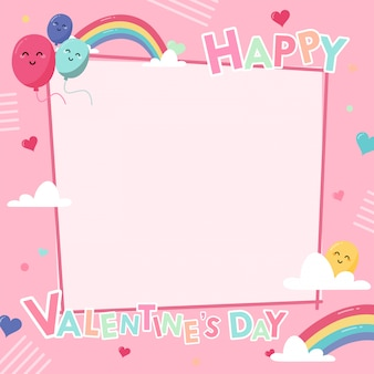 Postcard banner happy valentines day frame with decoration on pink
