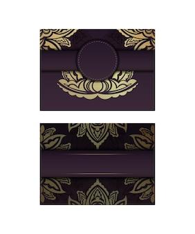 인쇄용으로 준비된 금 장식의 만다라가 있는 엽서 부르고뉴 색상.