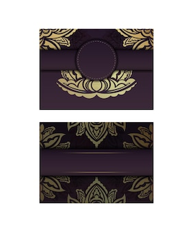 Postcard burgundy color with a mandala in gold ornament prepared for printing.