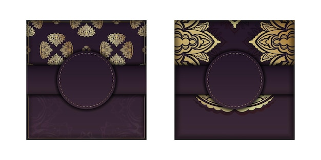 Postcard in burgundy color with a mandala in a gold pattern, prepared for printing.