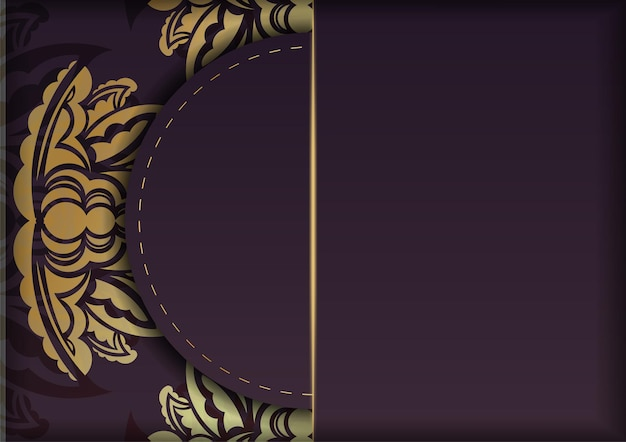 Postcard in burgundy color with an old gold pattern for your congratulations.
