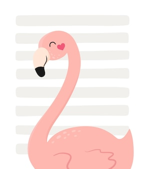 Postcard card with cute flamingos on a striped background vector illustration