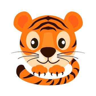 Postcard cartoon face tiger for graphic design. vector illustration orange cute striped tiger with paws and tail.