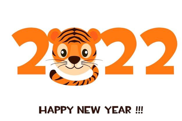 Postcard cartoon tiger happy new year 2022 for graphic design. vector illustration greeting banner with striped tiger logo and numbers.