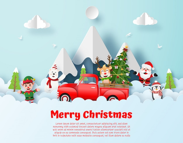 Postcard of christmas party with red truck and santa claus on the sky