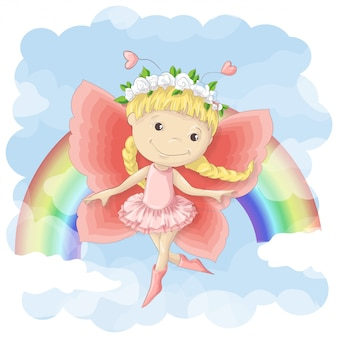 Postcard of a cute little fairy on the background of rainbow and clouds.