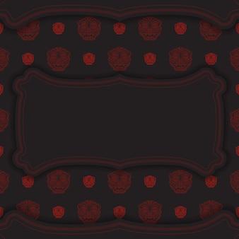 Дизайн открытки черные цвета с узорами китайского дракона.