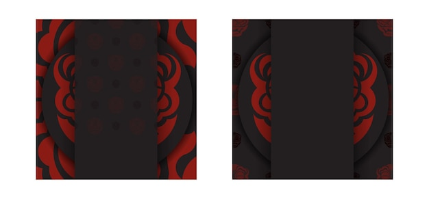 Postcard design black colors with chinese dragon patterns.