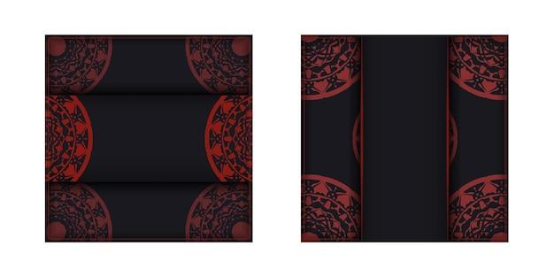그리스 패턴이 있는 black 색상의 엽서 디자인. 텍스트와 고급 장식품을 위한 공간이 있는 초대 카드 디자인.