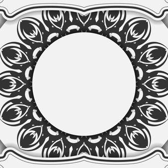 엽서 디자인 만다라와 흰색 색상입니다. 텍스트와 검은색 장식품을 위한 장소가 있는 벡터 초대 카드.
