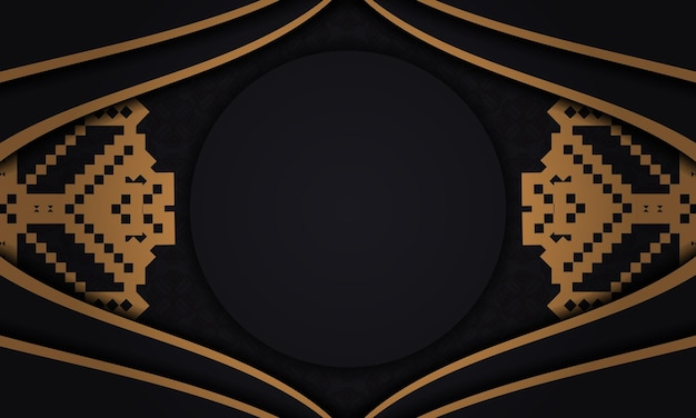 Postcard design with luxurious patterns. black banner with slovenian ornaments and place for your text and logo.
