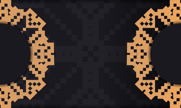 Postcard design with luxurious patterns. black template banner with slovenian ornaments and place for your logo.