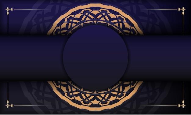ヴィンテージの飾りが付いたポストカードのデザイン。豪華なヴィンテージの装飾品とあなたのロゴとテキストのための場所と青い背景。
