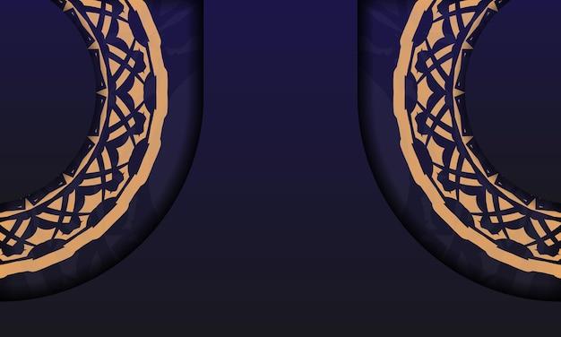 ヴィンテージ柄のポストカードデザイン。豪華な装飾品とロゴの場所が付いた青いバナーテンプレート。