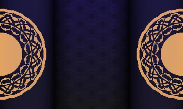 ヴィンテージ柄のポストカードデザイン。豪華な装飾品とテキストやロゴの場所が付いた青いバナー。