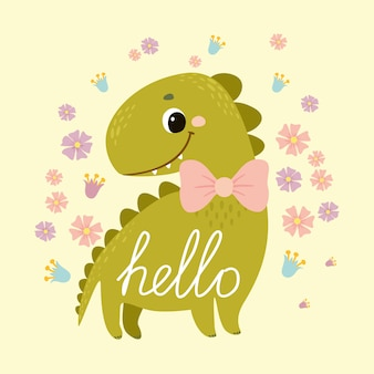 Postcard dinosaur. greeting. cute baby dino for kids