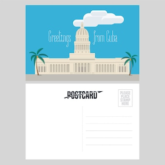 Postcard from cuba with el capitolio  illustration