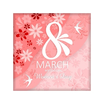 Postcard from march , happy woman's day in paper style