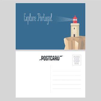 Postcard from portugal  illustration with lighthouse on atlantic shore