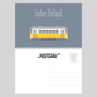 Postcard from portugal with lisboa tramway vector illustration