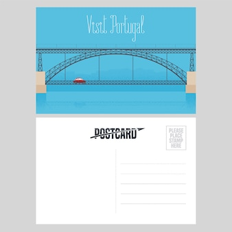 Postcard from portugal with porto bridge over douro river vector illustration