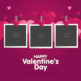 Postcard happy valentines day with a blank template for photo