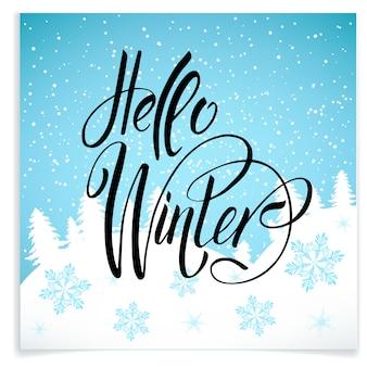 Postcard hello winter wiht cute elements