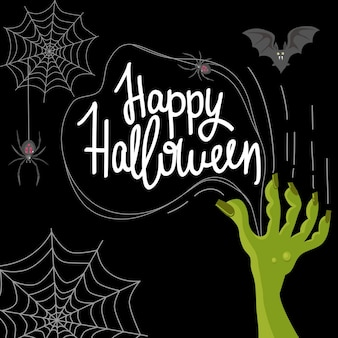 Postcard for the holiday of halloween zombie hand scratches spiders on the web vector