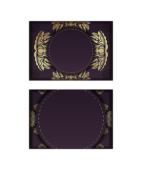 축하를 위해 오래된 금 장식이 있는 부르고뉴 색상의 엽서.