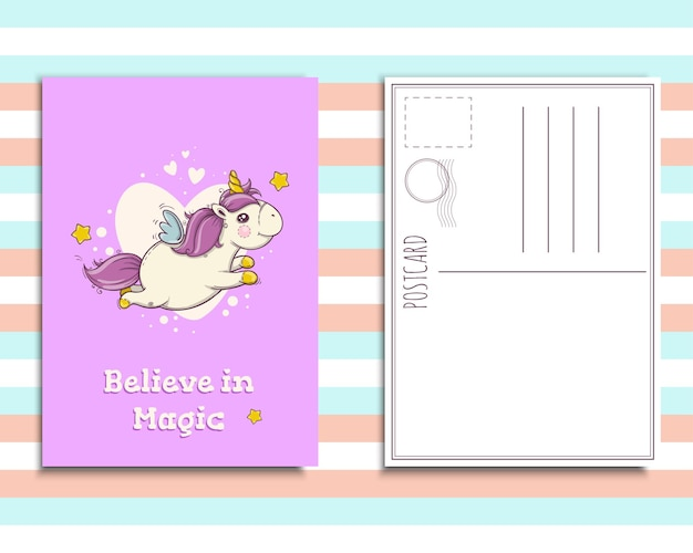 귀여운 유니콘이 있는 엽서 초대장 템플릿, 마법을 믿으세요