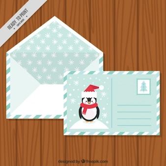 Cartolina di bel pinguino con busta