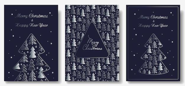 새해 휴가를위한 크리스마스 숲의 엽서