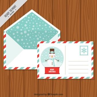Открытка снеговика с конвертом