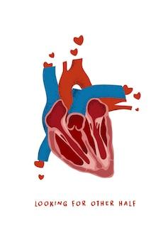 Открытка или плакат на день святого валентина или свадьбу с настоящим сердцем и цитатой о любви