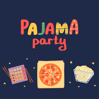 Postcard pajama party on a dark background vector illustration in flat style