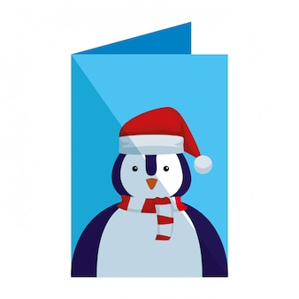 Postcard of penguin with santa claus hat
