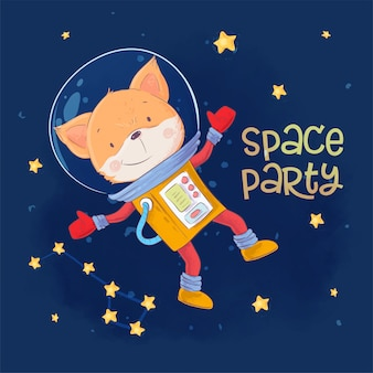 Postcard poster of cute astronaut fox in space with constellations and stars in cartoon style.