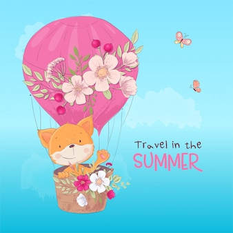 Postcard poster of a cute fox in a balloon with flowers in cartoon style.