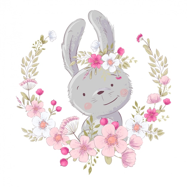Postcard poster cute little bunny in a wreath of flowers.