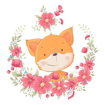 Postcard poster cute little fox in a wreath of flowers