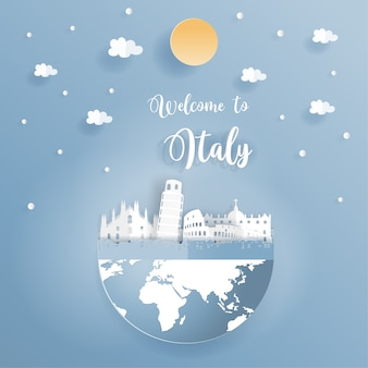 Postcard promoting world famous landmarks of italy