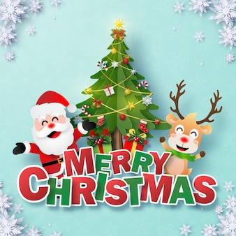 Postcard santa claus and reindeer with christmas tree and text merry christmas