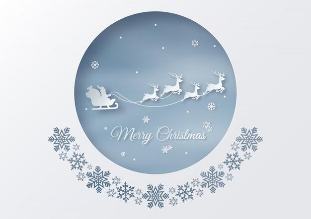 Postcard of santa claus rides reindeer sleigh
