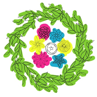 はがき春花束花1行カラースポット手描き最小限のベクトル図