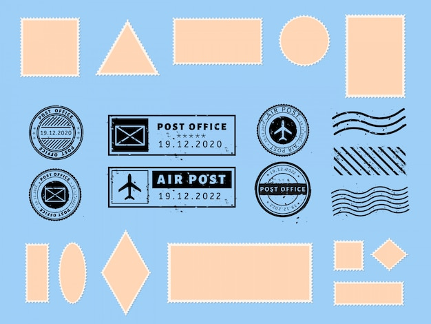Postcard stamp. paper postcards and air boarder stamp frames, passport visa international arrived stamps and philatelic postcards template  illustration set. blank postage stickers. post marks